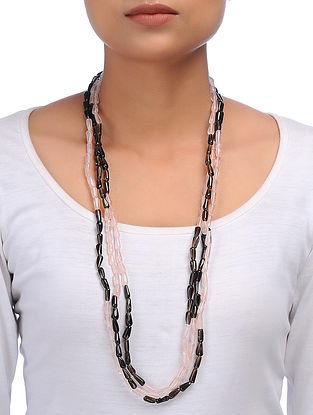 Smoky Quartz and Rose Quartz Beaded Silver Necklace