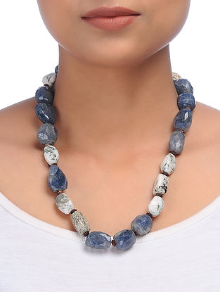 Moss Agate and Iolite Beaded Silver Necklace