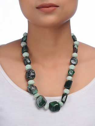 Emerald and Aventurine Beaded Silver Necklace