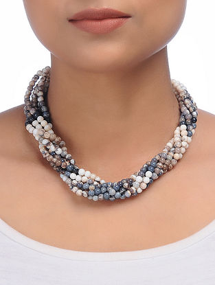 Agate Beaded Silver Necklace