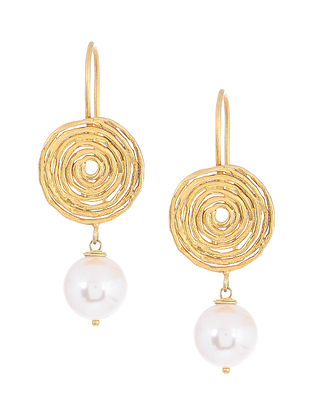 Gold Tone Silver Earrings with Shell Pearl