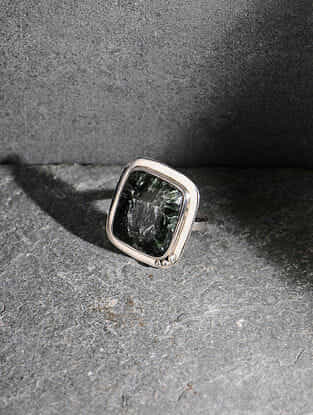 Seraphinite Silver Adjustable Ring