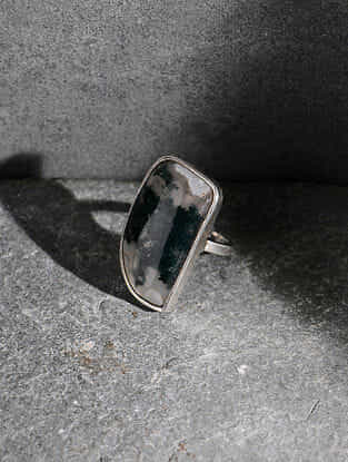 Moss Agate Silver Adjustable Ring