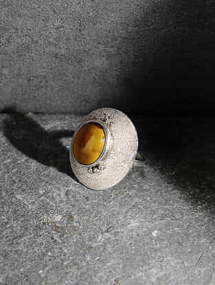 Yellow Jasper Silver Adjustable Ring