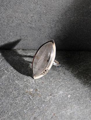 Rutilated Quartz Silver Adjustable Ring