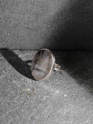 Rutilated Quartz Silver Adjustable Ring