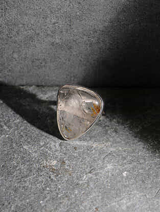 Golden Rutilated Quartz Silver Adjustable Ring
