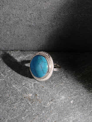 Howlite Silver Adjustable Ring