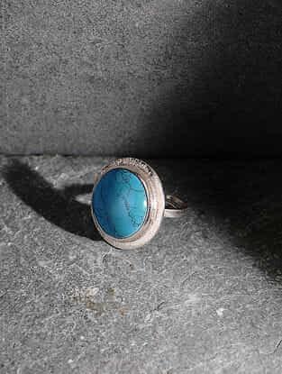 Howlite Silver Adjustable Ring