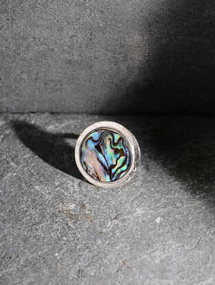 Abalone Silver Adjustable Ring