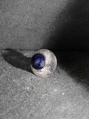 Sodalite Silver Adjustable Ring