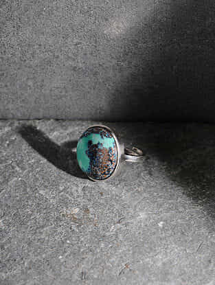 Chrysocolla Silver Adjustable Ring