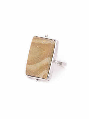 Jasper Silver Adjustable Ring