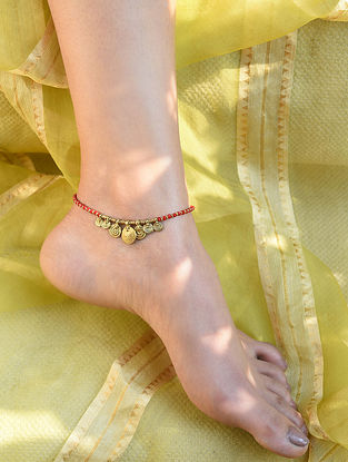 Red Gold Tone Beaded Anklet