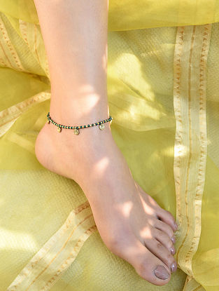 Green Gold Tone Beaded Anklet