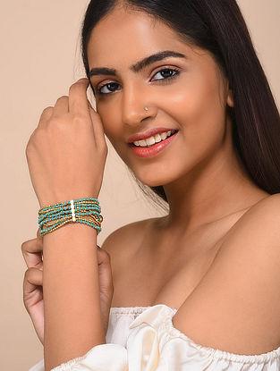 Blue Gold Tone Beaded Bracelet