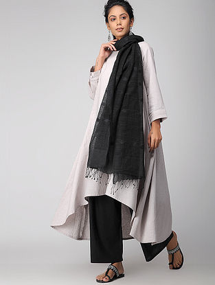 Black Handloom Cotton Silk Dupatta