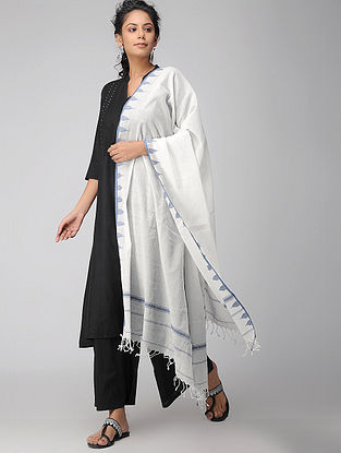 Ivory-Blue Handloom Cotton Stole