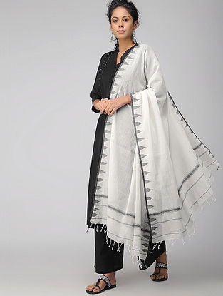 Ivory-Black Handloom Cotton Dupatta
