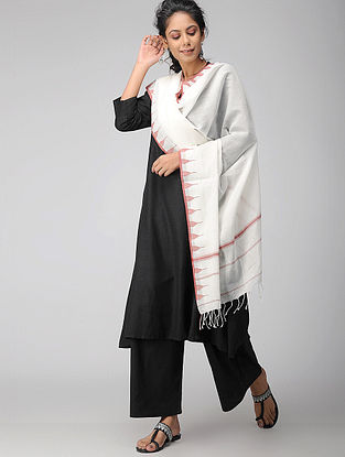 Ivory-Rust Handloom Cotton Stole