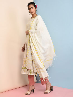 Ivory-Yellow Handloom Cotton Dupatta