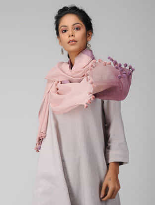 Peach Handloom Cotton Stole with Tassels