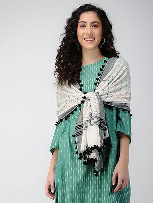 Black-Ivory Handloom Cotton Stole with Tassels