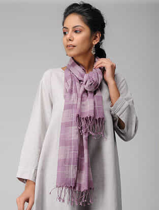 Purple Handloom Cotton Stole