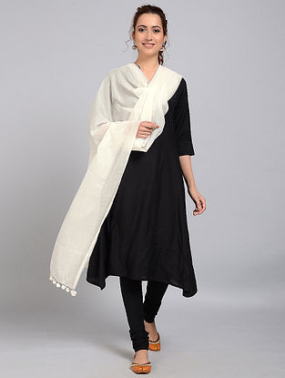 Ivory Handloom Silk-Cotton Dupatta with Tassels