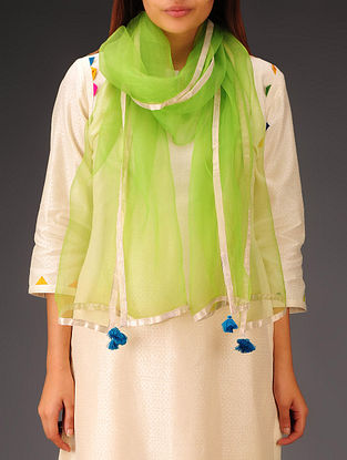 Lime Green-Golden-Teal Organza Stole