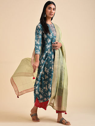 Green Block Printed Chanderi Silk Dupatta with Hand Embroidery