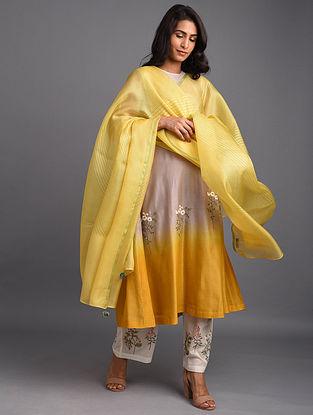 Mustard Hand Block Printed Silk Dupatta