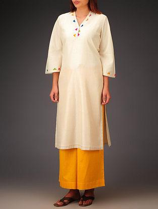 Cream- Multi-Color Trims Chanderi Hand Block Printed Bell Sleeve Kurta