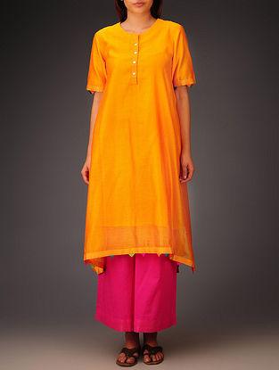 Orange- Multi-Color Trims Chanderi Hand Block Printed Asymmetrical Kurta