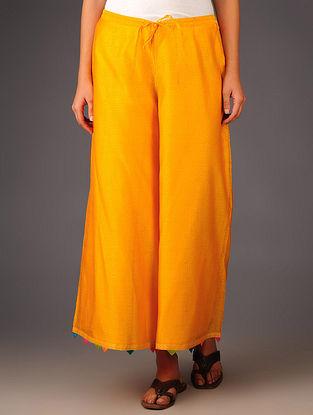 Orange- Multi-Color Trims Chanderi Hand Block Printed Tie-Up Waist Palazzos