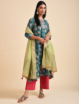 Teal Block Printed Chanderi Silk Kurta with Hand Embroidery and Cotton Lining