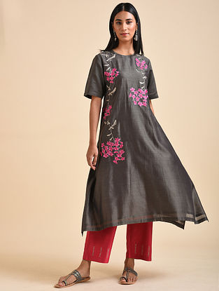 Charcoal Embroidered Chanderi Silk Kurta with Cotton Lining
