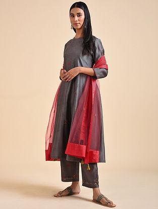 Charcoal Hand Embroidered Chanderi Silk Kurta with Cotton Slip (Set of 2)