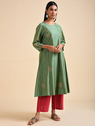 Green Applique Chanderi Silk Kurta with Embroidery and Cotton Slip (Set of 2)