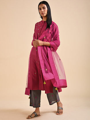 Pink Applique Silk Viscose Kurta with Embroidery