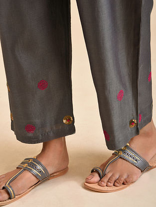 Charcoal Hand Embroidered Chanderi Silk Pants with Cotton Lining