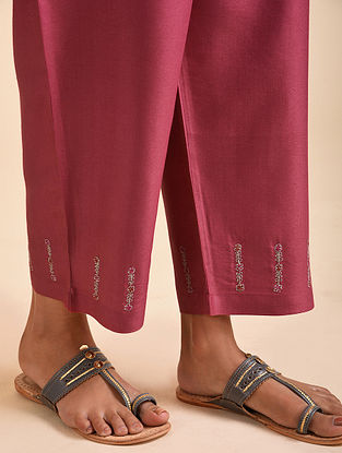 Pink Embroidered Silk Viscose Pants