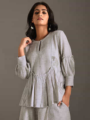 Grey Block Printed Woolen Top with Embroidery and Cotton Lining