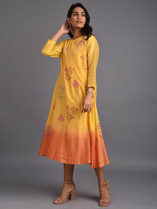 Mustard Hand Block Printed Chanderi Kurta with Cotton Lining