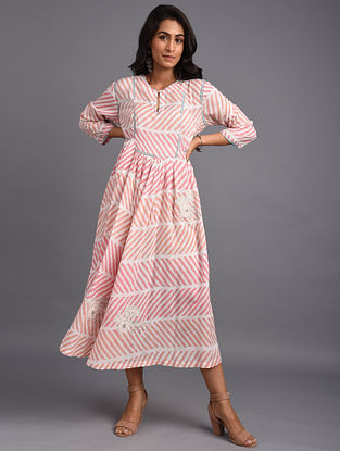 Natural Hand Block Printed Cotton Kurta with Embroidery