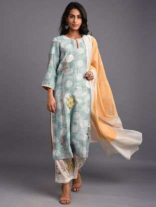 Blue Hand Block Printed Chanderi Kurta with Embroidery and Cotton Lining