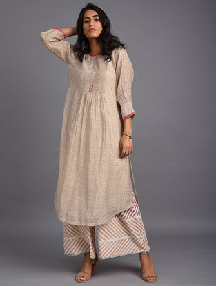 Beige Hand Block Printed Chanderi Kurta with Embroidery and Cotton Lining
