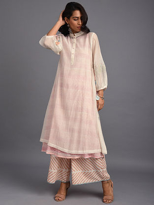 Natural Hand Block Printed Chanderi Kurta with Embroidery and Cotton Lining