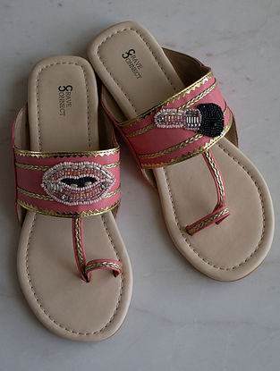 Pink-Multicolored Handcrafted Kolhapuri Flats