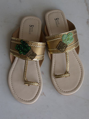 Gold Handcrafted Kolhapuri Flats